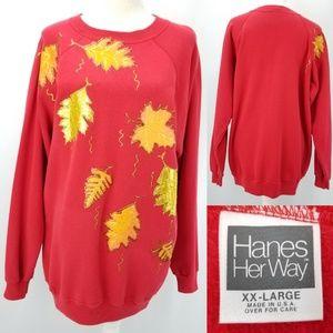 90s Fall Leaves Glitter Paint 50/50 Sweatshirt XXL